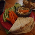 Hummus, pita and vegetables